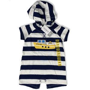 Baby Boy Sailer Blue White Stripe Romper Hoodie 6M